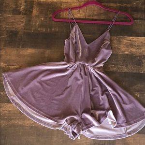 Purple Velvet Romper XS